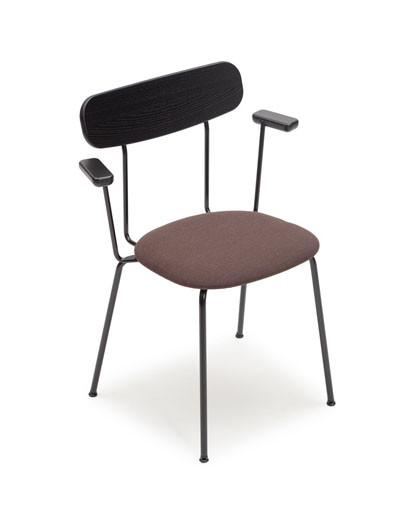 Tuttu-2/i chair with small arms, seat upholstered